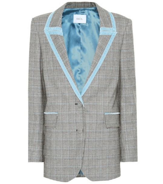 Racil Okiya checked wool blazer in grey