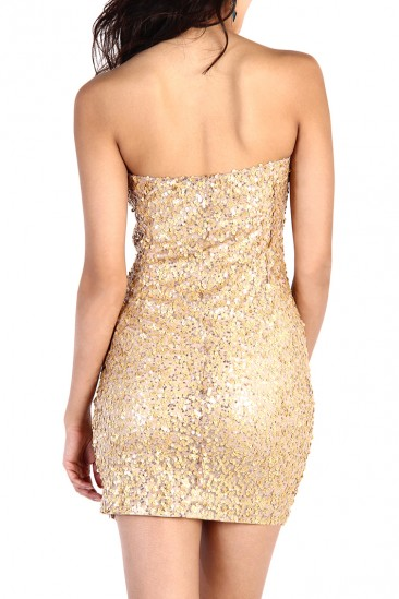 OMG Strapless Gold Sequin Dress