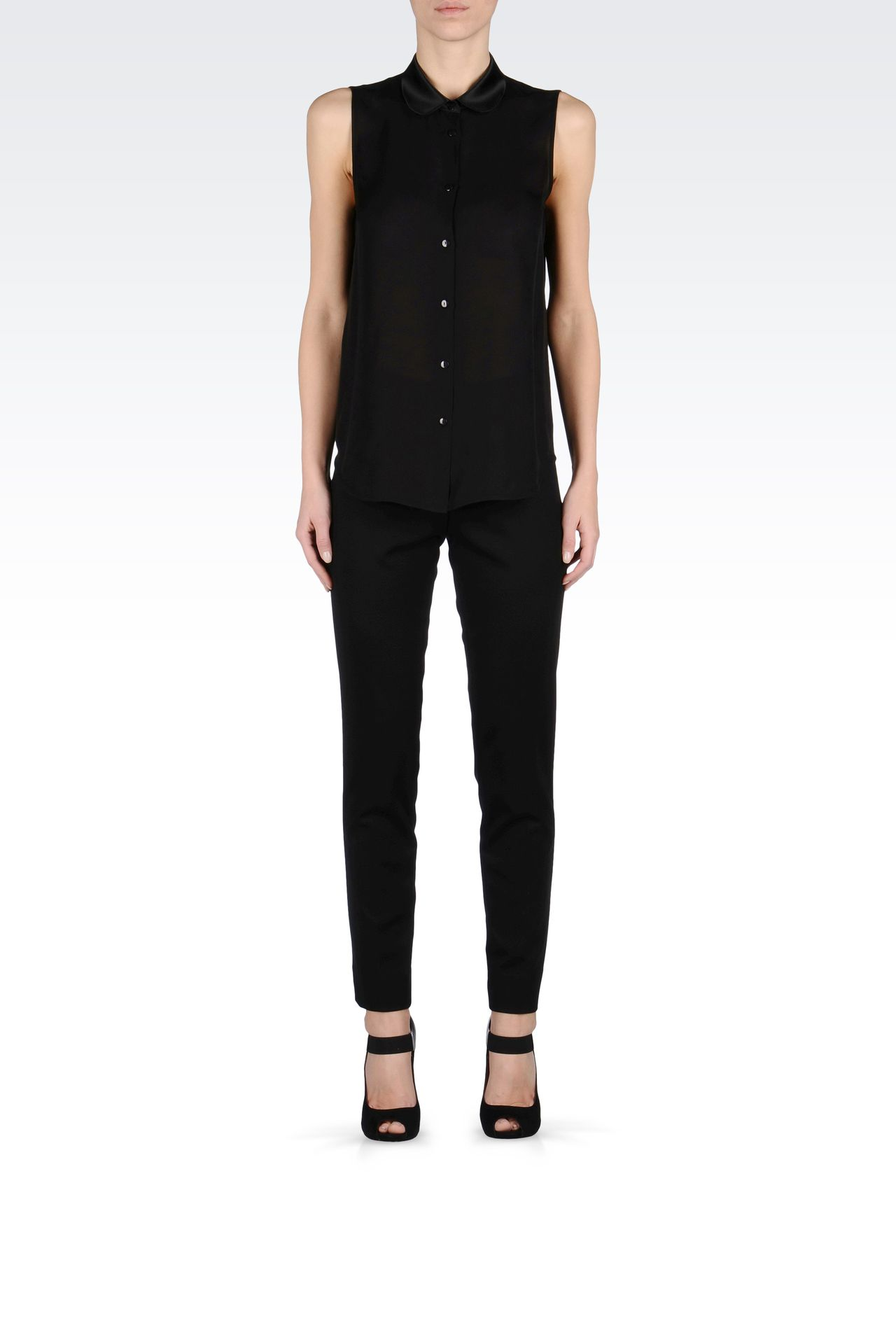 Emporio Armani Women Straight Leg Pant - CIGARETTE TROUSERS IN VISCOSE Emporio Armani Official Online Store