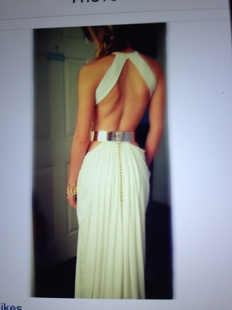 dress gold white dress long prom dress open back
