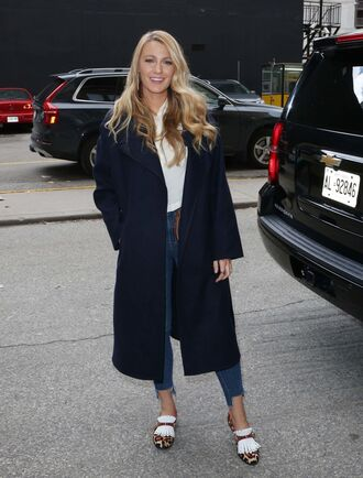 coat jeans blake lively flats blouse