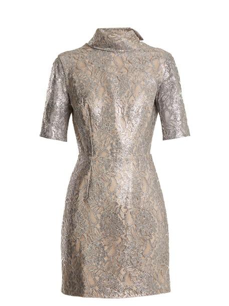 EMILIA WICKSTEAD dress mini dress mini pearl lace floral silver