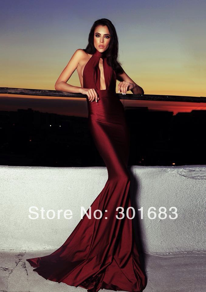 Sexy Mermaid Wine Halter Backless Prom Dress-in Prom Dresses from Apparel & Accessories on Aliexpress.com