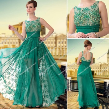 New Arrival Sleeveless A line Shape Chiffon and Lace Backless Hunter Green Prom Dresses 2014-in Prom Dresses from Apparel & Accessories on Aliexpress.com
