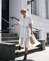 bag,straw vag,straw bag,dressw,white dress,shoes,black shoes