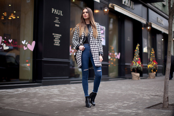 fashion agony blogger coat jeans high waisted jeans houndstooth