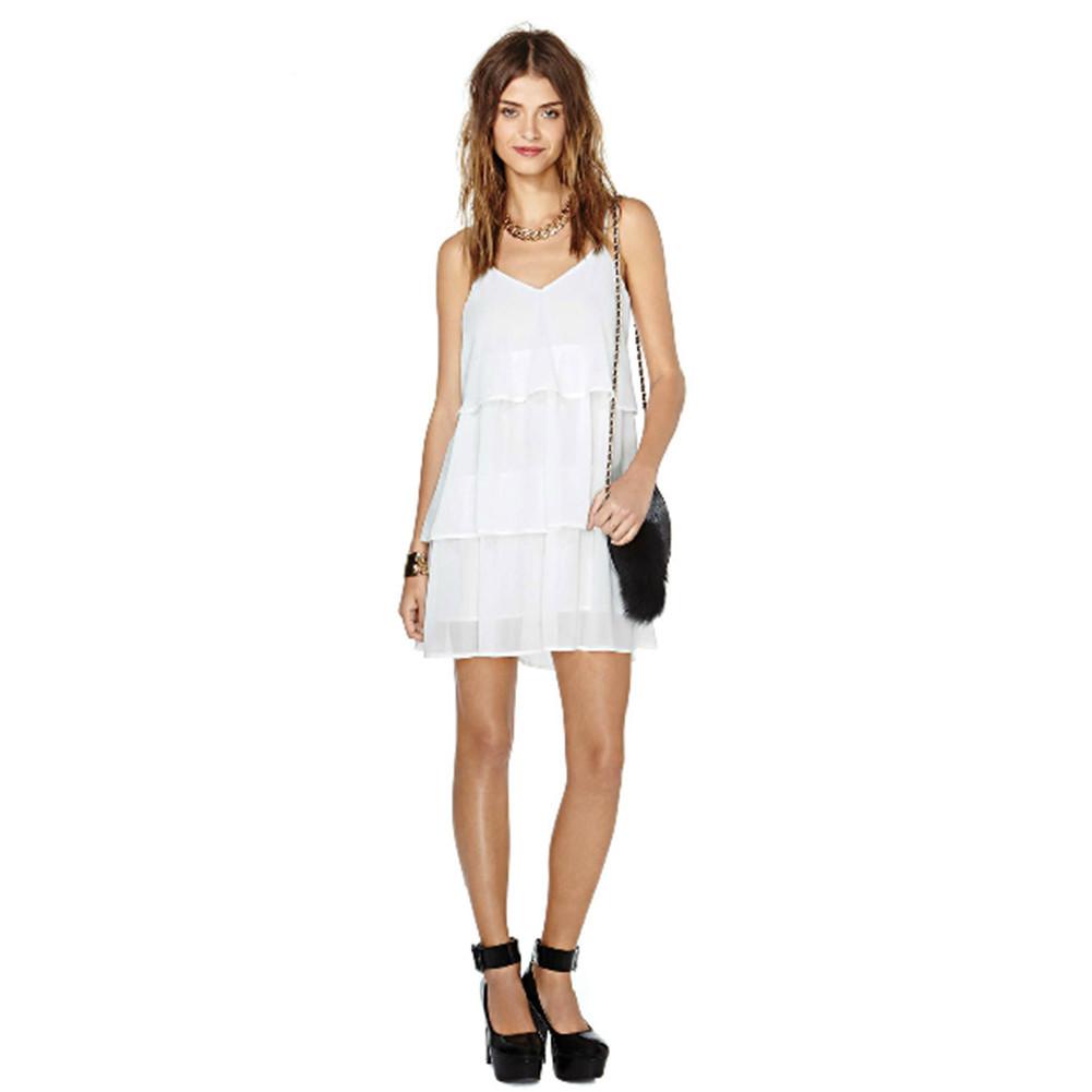 White chiffon strap layers dress