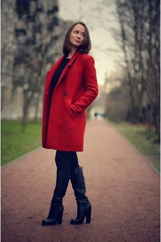 shoes heels boots red coat black boots