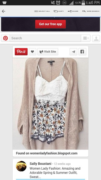 shorts summer floral girly cardigan
