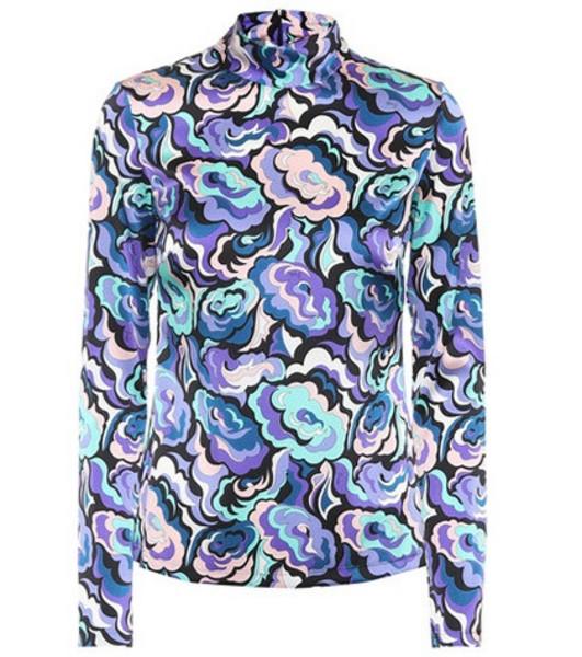 Emilio Pucci Stretch silk printed top in purple