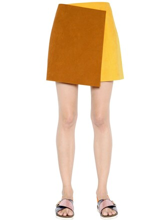 skirt suede skirt suede yellow brown