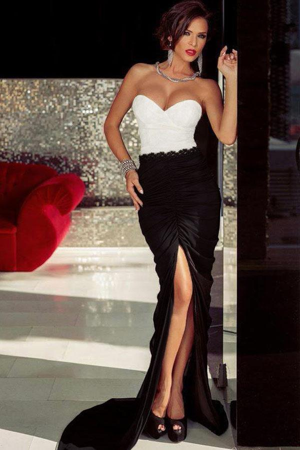 Black And White Celebrity Dresses 2016 Satin Sweetheart Mermaid Red ...