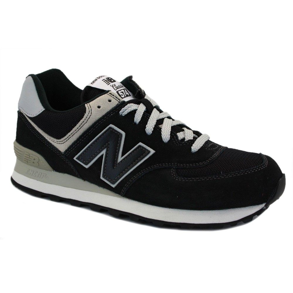Suedeamp; 574 Balance Trainers Black Mesh Ml574bbk Mens New Laced NwvmyO8n0P