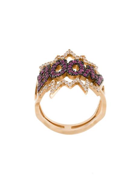 Diane Kordas rose gold rose women ring gold grey metallic jewels