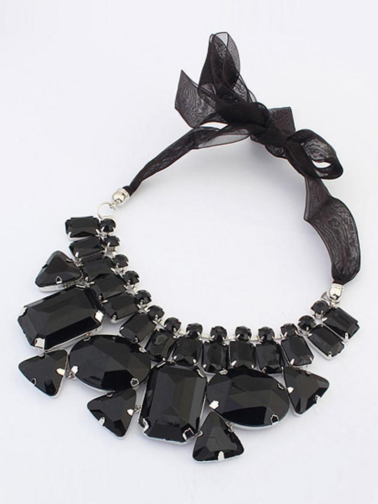 Black Crystal Rhinestone Necklace With Ribbon Tie | Choies
