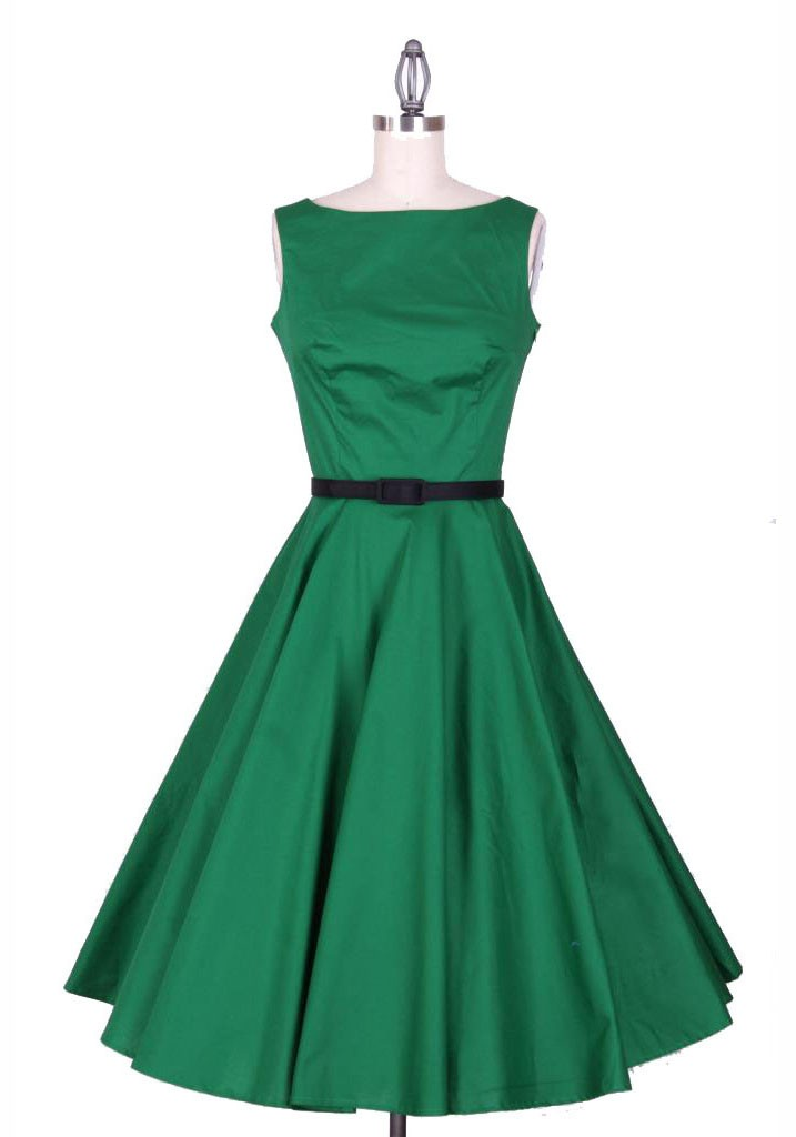 Boat Neckline Sleeveless Plain Vintage Skirt