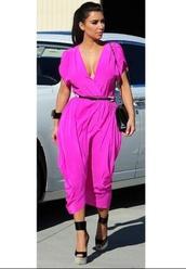 dress,pink dress,kim kardashian,pink,maxi dress,keeping up with the kardashians,hot pink,shoes