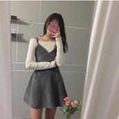dress,korean fashion,korean dress,kawaii dress,suede,slip dress,grey dress,kawaii skirt,kawaii girl,grid dress,korean street style,korean fashion shop,grey,black dress