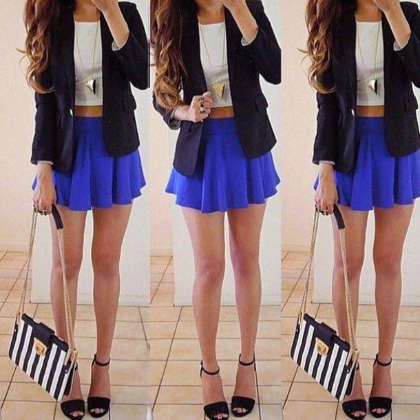 dress jacket purse blue skirt high heels necklace
