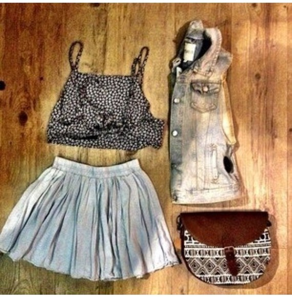 skirt cute jacket tank top crop tops denim vest bag vintage fashion high waisted skirt highwaisted shorts cropped grey polka dot vintage vest