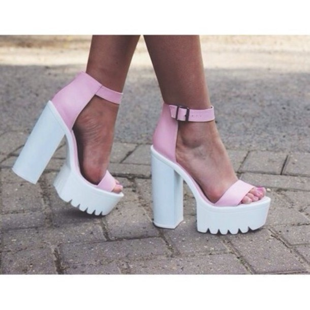 shoes chunky heels heels series chunky heels high heel sandals pink heels