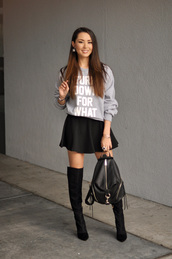 hapa time,blogger,circle skirt,black skirt,leather backpack,grey sweater,quote on it,bag