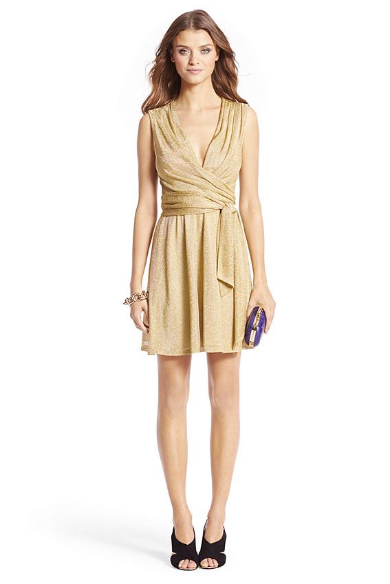Nina Short Metallic Wrap Dress