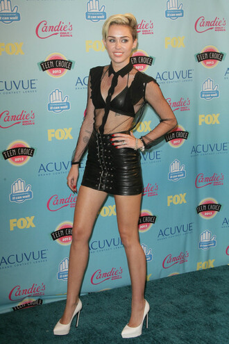 blouse sheer leather skirt miley cyrus sexy leather shoes