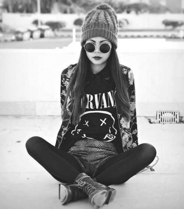 shirt sunglasses t-shirt nirvana t-shirt jacket nirvana floral jacket jeans leggings pants cardigan black nirvana shirt