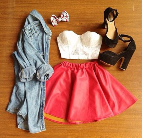 skirt lace hipster shirt light blue jeans shirt jacket denim jacket leather skirt red heels hair bow floral jeans shows short sweet shoes summer outfits top blouse denim faded trendy gorgeous babe hot skirt set bustier white crop tops hair accessory coat