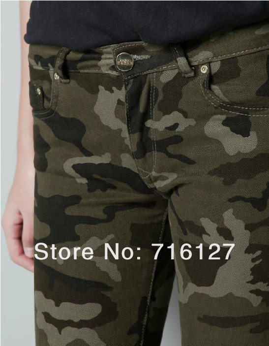 6 yards full 2013 NEW skinny jeans women military camouflage pants uniform pants feet pencil pants trousers overalls camouflage-in Jeans from Apparel & Accessories on Aliexpress.com