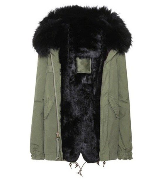 Mr & Mrs Italy parka mini fur cotton green coat