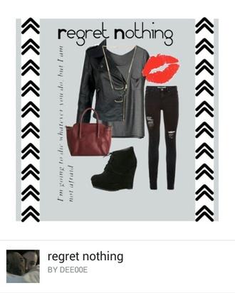 jacket black black jacket leather jacket black jeans jeans ripped jeans bag red bag black shoes wedges boots grey grey t-shirt