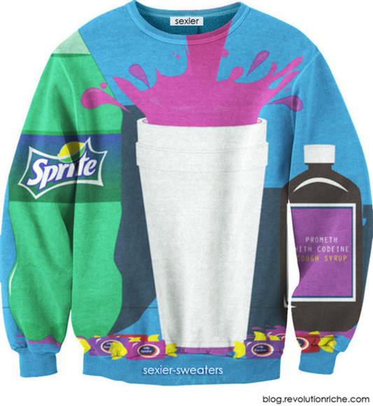 sweater black crewneck unisex sprite lean double cup cough syrup syrup blue purple green white jolly ranchers pullover