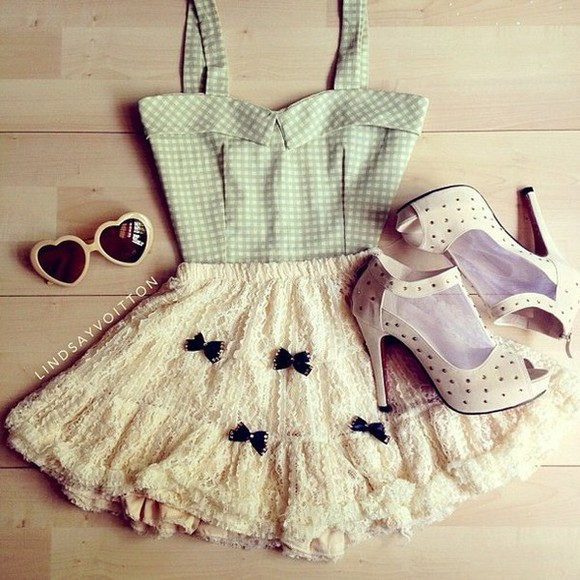 shoes white lace black skirt top bows dress cute dress