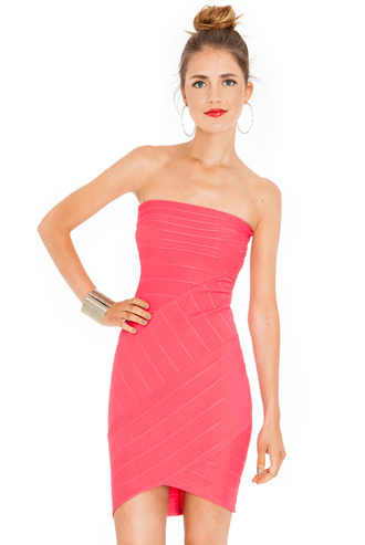 strapless bodycon bandage mini evening outfits sassy asymmetrical coral lime navy turquoise