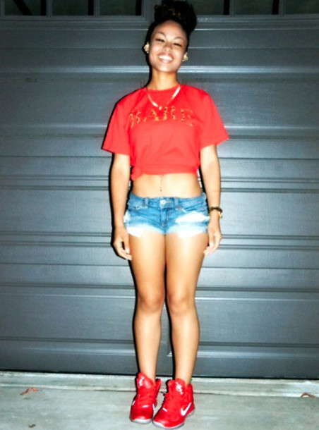 red t shirt and shorts