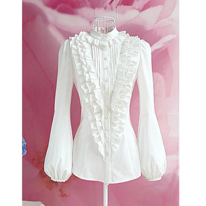 Fashion Women Standing Collar Flounced Puff Long Sleeves Blouse White M