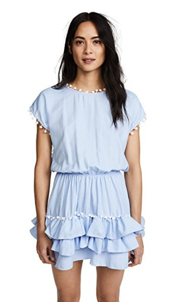 Peixoto Nissi Pom Pom Dress in blue