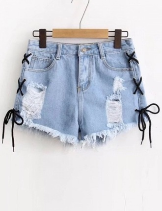 shorts girly denim denim shorts frayed denim lace up