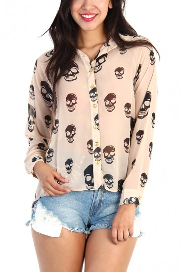 LoveMelrose.com From Harry & Molly | Skull Print Sheer Button Down Shirt - Camel