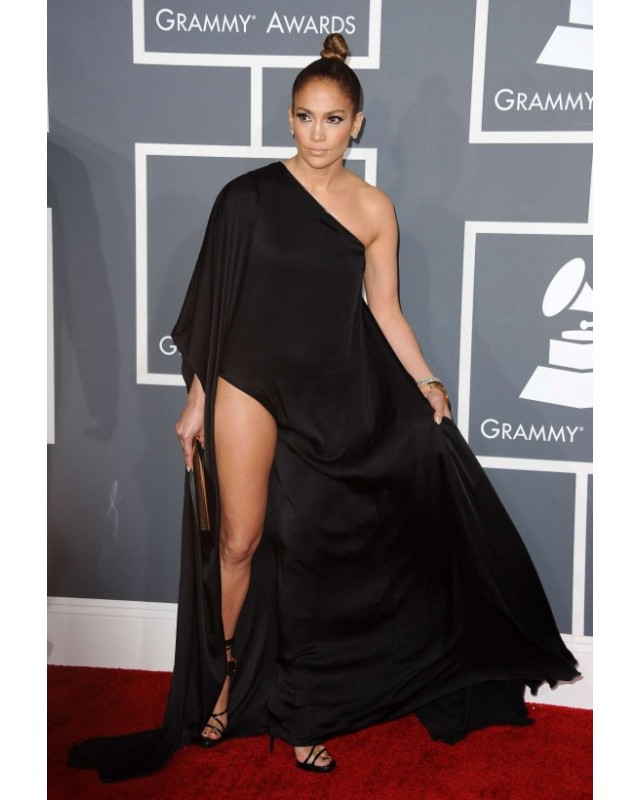 jennifer lopez Black Prom Dress grammy 2013 Red Carpet PGA4791 ...