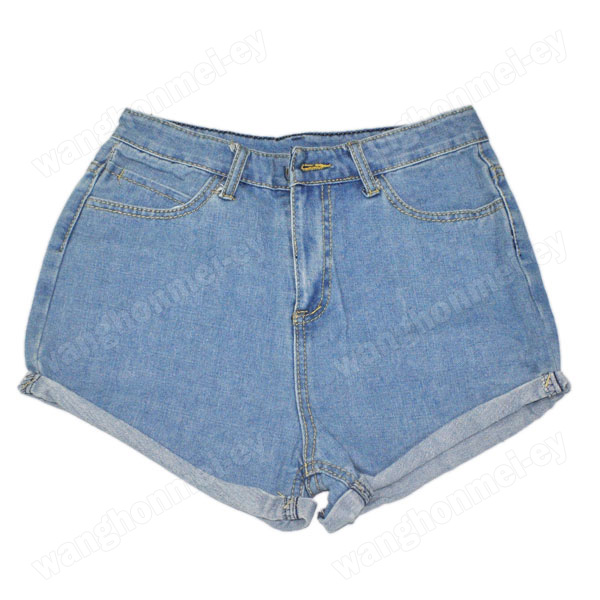 Womens 2014 lady's girls denim high waist flange blue jean shorts pants fashion