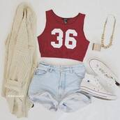 tank top,shorts,shoes,jacket,jewels,skirt,jeans,pants,coat,outfit,cardigan,converse,cross,burgundy top,number,crop tops,gold,shirt,red,top,denim shorts,knitted cardigan,36,topcrop top,cute,sweater,crop,crimson,t-shirt,gilet,blouse,dope,red tank top,blue jean shorts,High waisted shorts,short,shorttop,white and red tank top,blue,knitwear,hipster,high waisted,crop tank,cropped,summer,celebrity,ootd,tumblr,light blue,swag,weheartit,hot,denim,high waisted denim shorts,beautiful,necklace,streetstyle,gold chain,tumblr clothes,red t-shirt,jewelry,bracelets,white,cream,knit,knitted sweater,vest,clothes,accessories,chain,tee-shirt 36,cardigan blanc cassé,converses blanches,collier doré,short simple,red crop top,number tee,sportswear,acid wash,demin shorts,white converse,sneakers,highwaisted short crop top,cool,jersey,burgundy,oatmeal cardigan,bugundy,hair accessory,hip,girly,leggings,make-up,dress,cute sweaters,summer outfits,summer shorts,spring,love,team,pink,california,beige cardigan