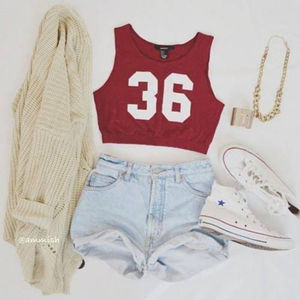 Top tank shorts sweater shoes jewels gold shirt red top jacket t shirt