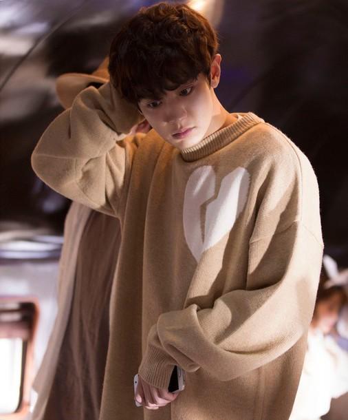 Sweater: beige, exo, chanyeol, heart, soft - Wheretoget