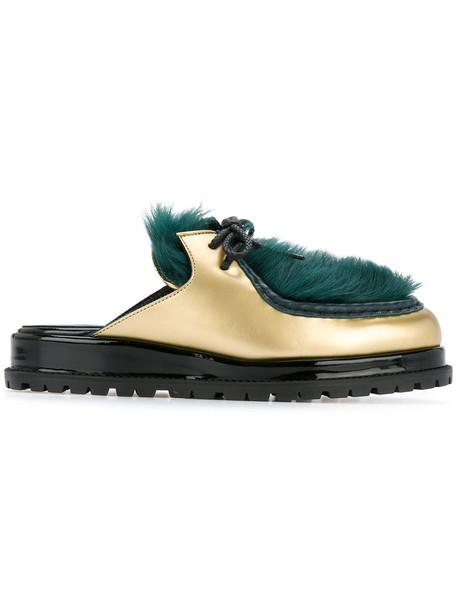 Sacai fur faux fur women mules leather green shoes