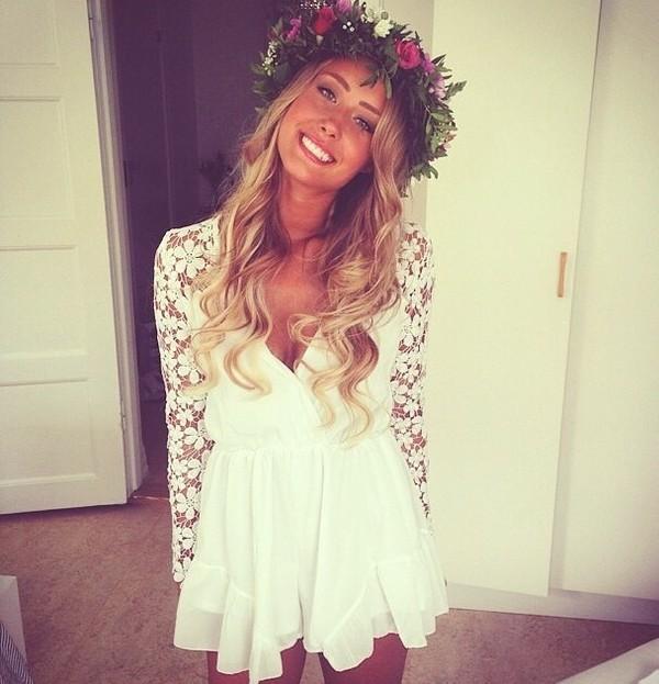 dress white dress lace summer dress