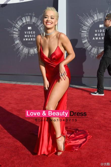 com : Buy 2014 VMA Sexy Red Taffeta Backless Celebrity Dresses ...