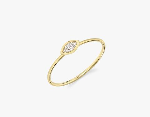 Marquise Diamond Bezel Ring - 14K Yellow Gold | Ring